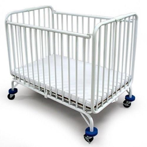 Compact Folding Metal Crib by LA Baby