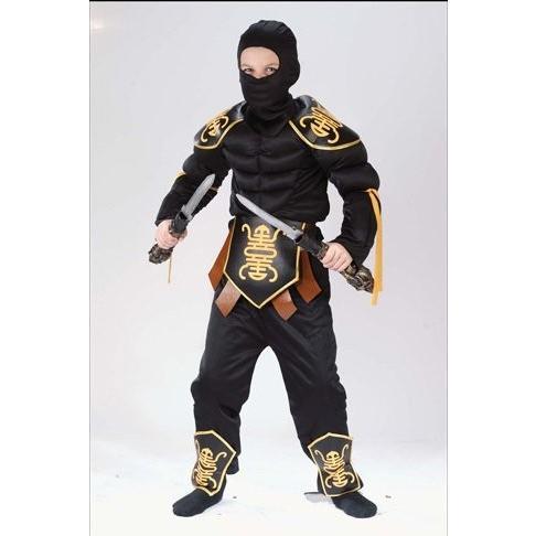 Ninja Warrior Muscle Child Costume Child Medium (8-10) (8-10) ブラック FW8700MD