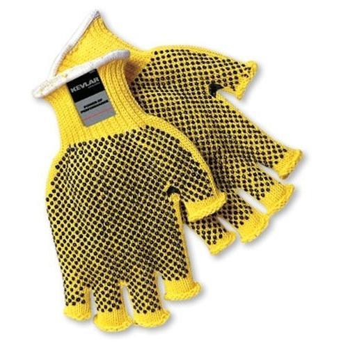 Memphis 9369L 耐切創手袋 ケブラー素材 Lサイズ 黄色 7ゲージ 指なし ポリ塩化ビニルドット付き