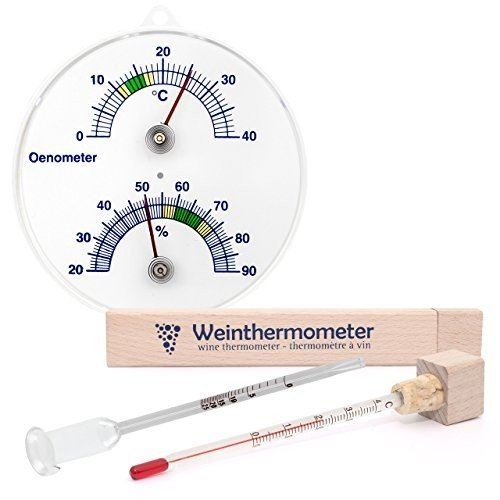 Lantelme 3858 3 Piece Onometer with Thermometer and Hygrometer - Wine Therm