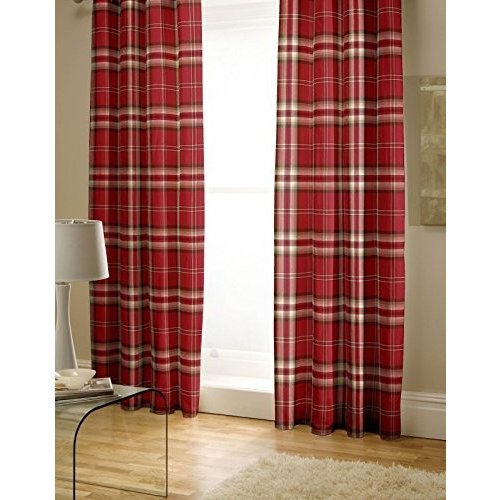 Catherine Lansfield Kelso Cotton Rich Curtains 66 x 72 inch - 赤 by Cather
