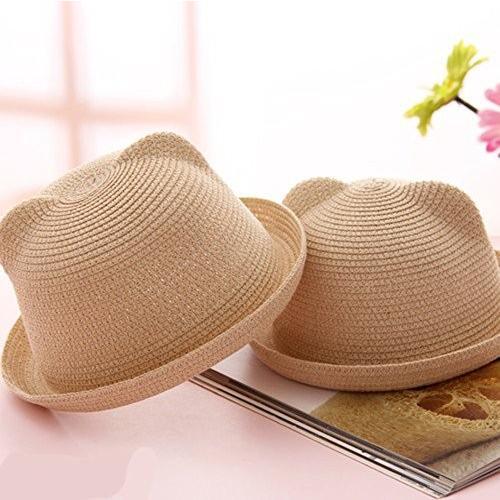 Beカラフル大人用レディースユニークなかわいい猫耳ストローホワイト帽子キャップDerby Bowler ブラウン