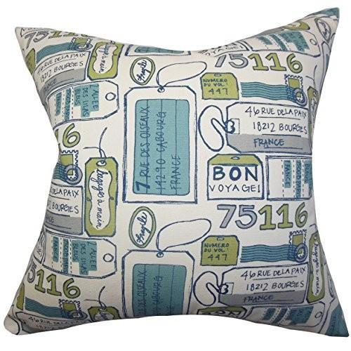 The枕コレクションReginy TypographyブルーFeather Filled Throw枕 18 x 18-Inch ブルー P18-PP