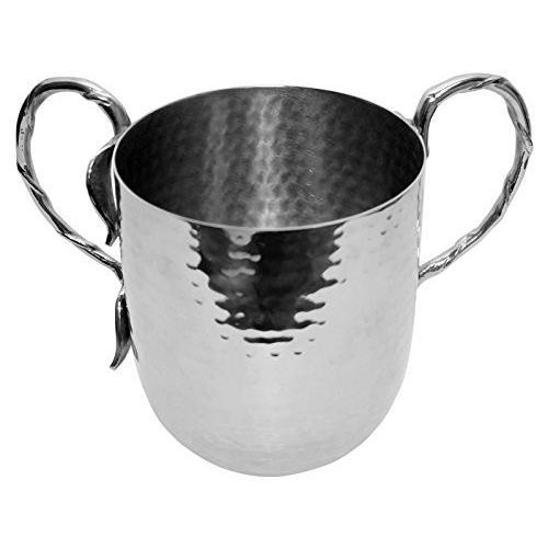 """究極Judaica Holister洗濯Cup Hammeredステンレススチールwithシルバーハンドル·5·"""" x 4.5·"""""""