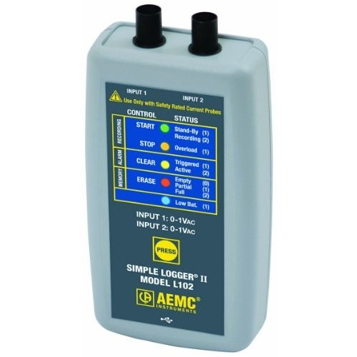 AEMC L102 Simple Logger II, Two-Channel TRMS Current, 1V AC Input Range by
