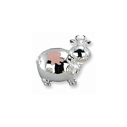 ピンクエナメルミニ牛銀メッキPolished Metal Bank·Engravable Gift Item
