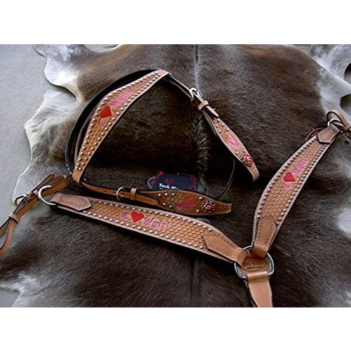 Horse Western RidingレザーBridle Headstall Breast襟タックピンク7656