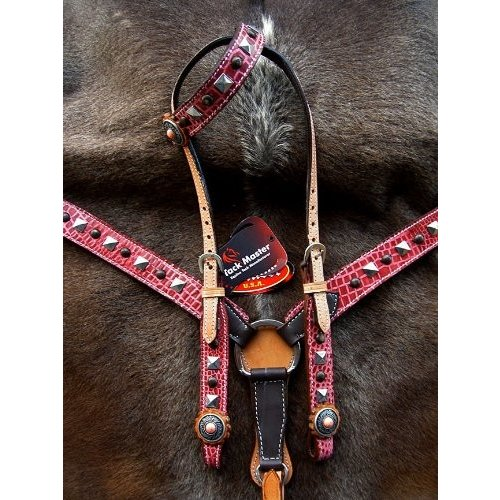 Horse Western RidingレザーBridle Headstall Breast襟タックピンク76128