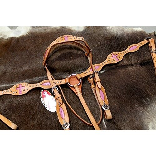 Horse Western RidingレザーBridle Headstall Breast襟タックピンク76152