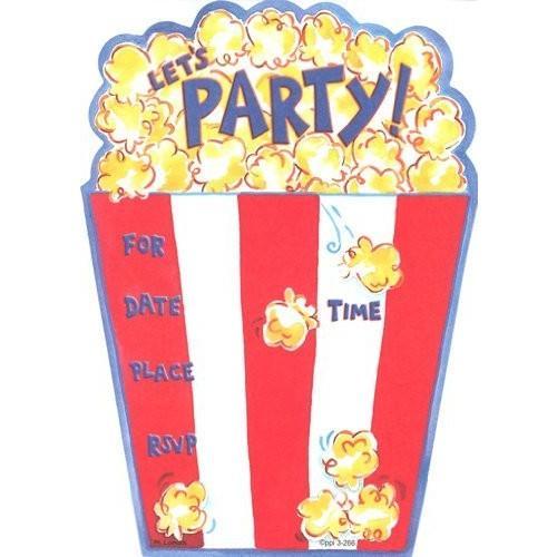 Kids Popcorn Birthday Invitations, 8 8 Pack