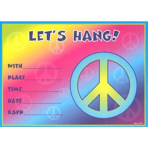 Kids Peace Birthday Invitations, 8 Pack