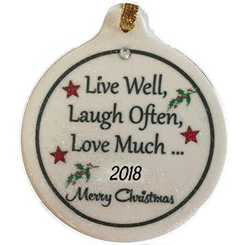 Live Well Laugh Laugh Often Love Much 2017磁器クリスマスオーナメントFamily Friends