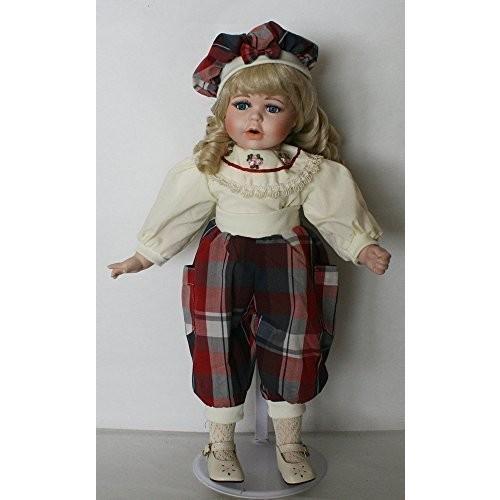 Standing磁器18インチ人形、青い目でベージュ色ブラウス接続withレッドブラック格子柄パンツと一致ドレスcap. Perfect for aコ