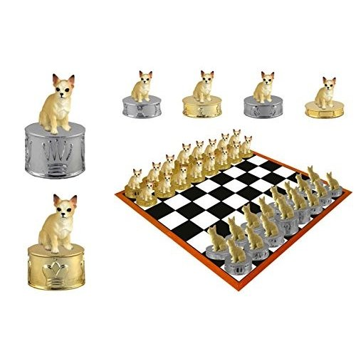 Tan & 白い Chihuahua Dog Hand-painted Chess Set Pieces