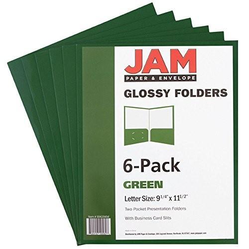 JAM Paper 光沢プレゼンテーションフォルダー 2ポケット Pack of 6 Folders グリーン