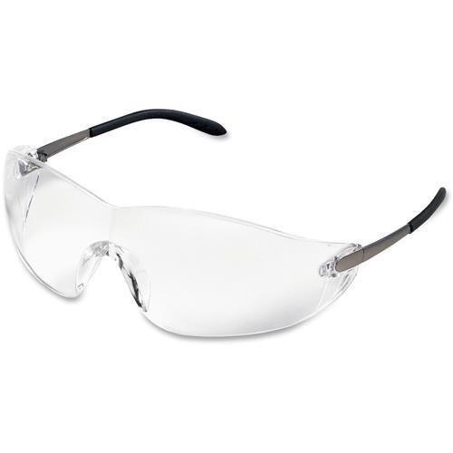 Crews 黒jackラップアラウンド安全メガネ、クロームプラスチックフレーム、クリアレンズ
