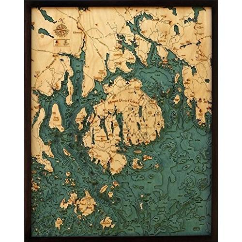 """バーHarbor /マウントデザート島メイン州、3·- D Nautical木製チャート、24.5·"""" X 31·"""""""