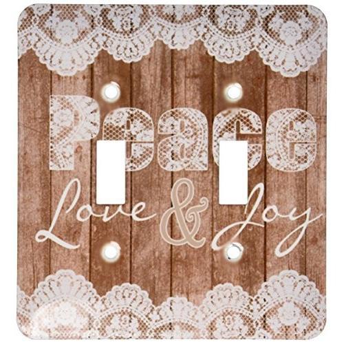 3drose LSP _ 172142·_ 2素朴な木製とレースイメージ平和、愛と喜び·ダブル切り替えスイッチ