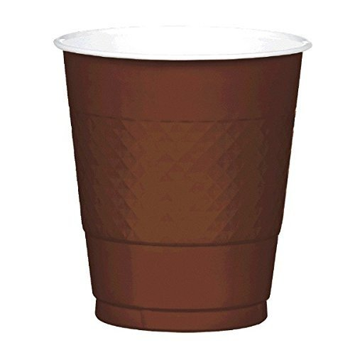 パーティー準備再利用可能なプラスチックカップ食器、チョコレートブラウン、プラスチック、12オンス、20個パック
