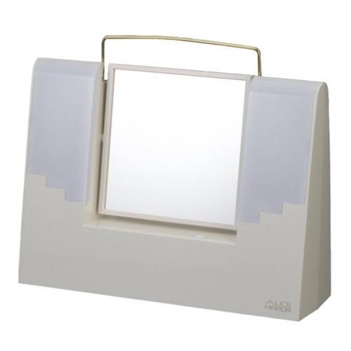 TANICA 照明付きメイクミラー 左右のライトで顔に影ができない&拡大鏡で細部までチェック アリスミラー ホワイト AM-12WH
