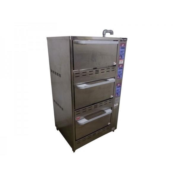 GB0210|ガス立体自動炊飯器 マルゼン MRC-X3C 13年製 LPガス 7.5kg×3段 W750×D585(770)×H1340(1450)mm 中古 業務用