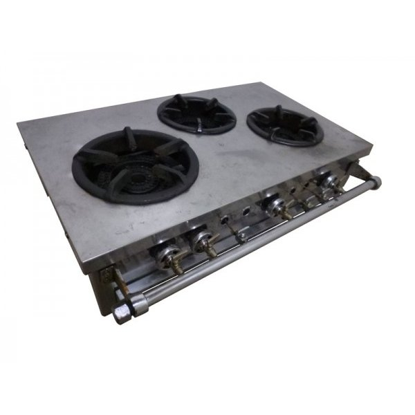 GB1018|卓上3口コンロ 都市ガス W750×D440(520)×H195(225)mm 中古 業務用 厨房用