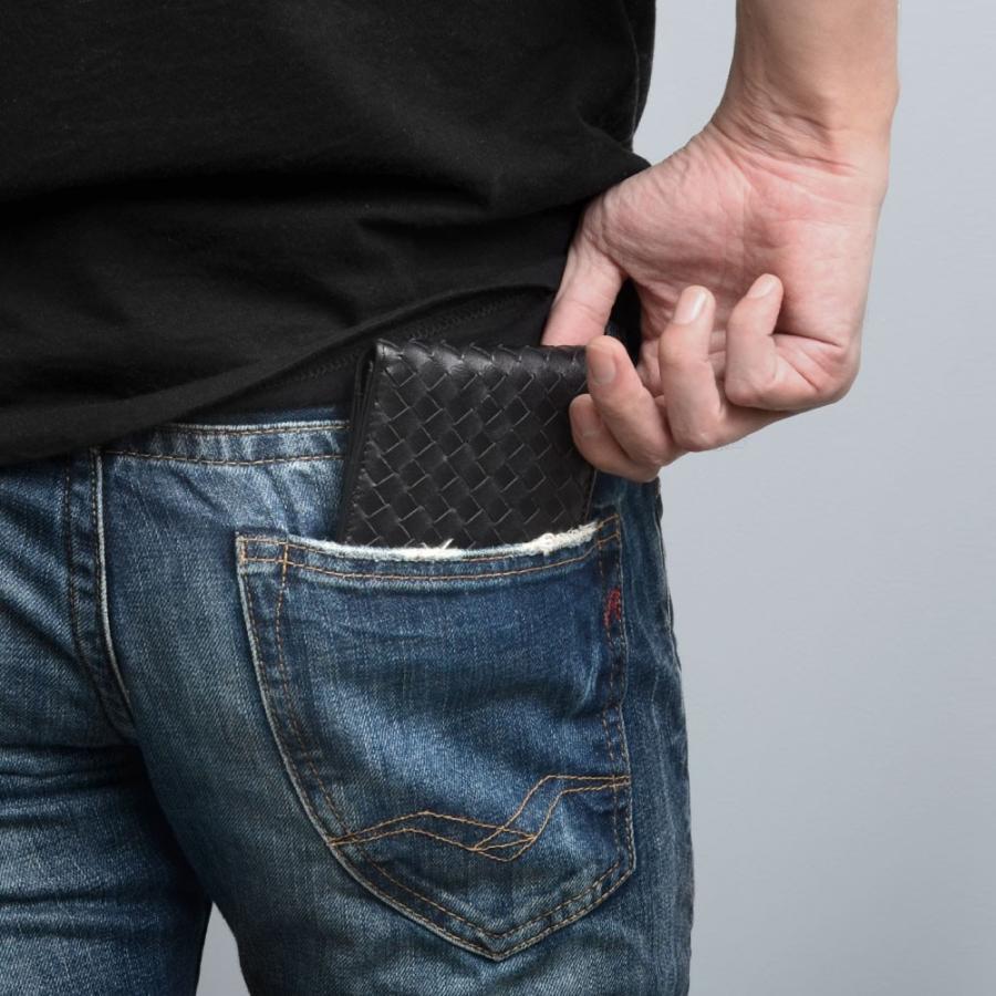 二つ折り財布 財布 本革  ユニセックス ギオネ イントレチャート ウォレット 編み込み ラムレザー メンズ レディース|u-stream|16