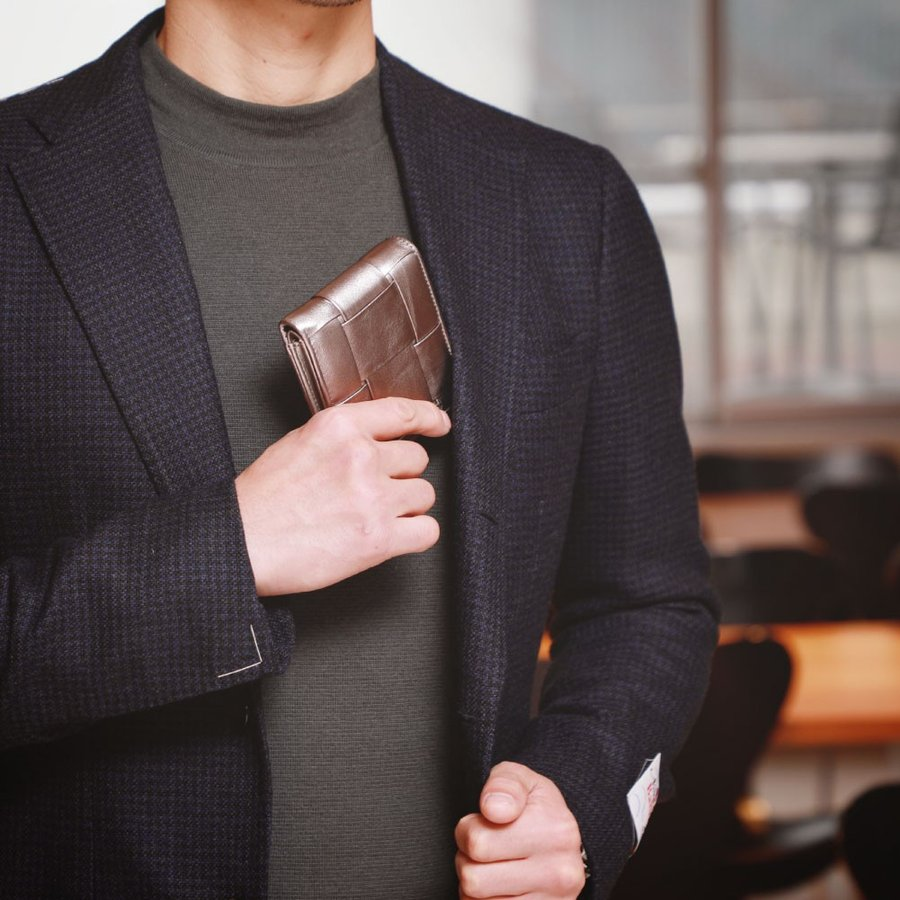 二つ折り財布 財布 本革  ユニセックス ギオネ イントレチャート ウォレット 編み込み ラムレザー メンズ レディース|u-stream|17