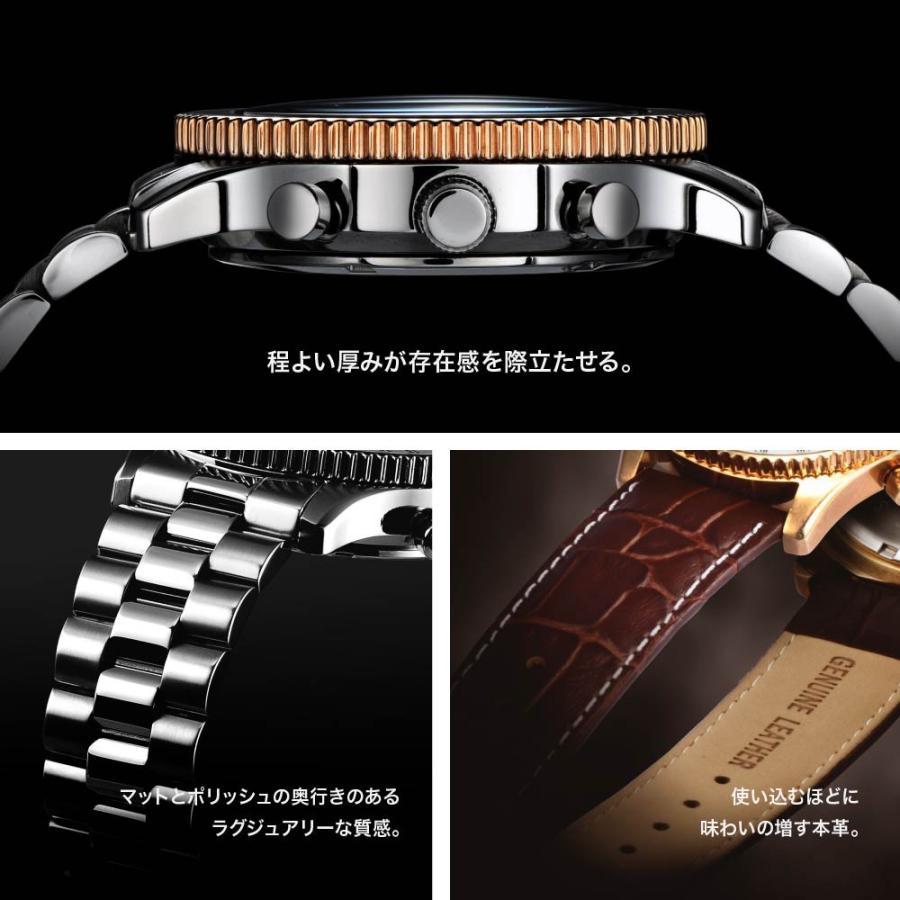 腕時計 メンズ おしゃれ アナログ ウォッチ パイロット クロノグラフ ビジネス 革 メンズ腕時計 フライトタイマー|u-stream|09