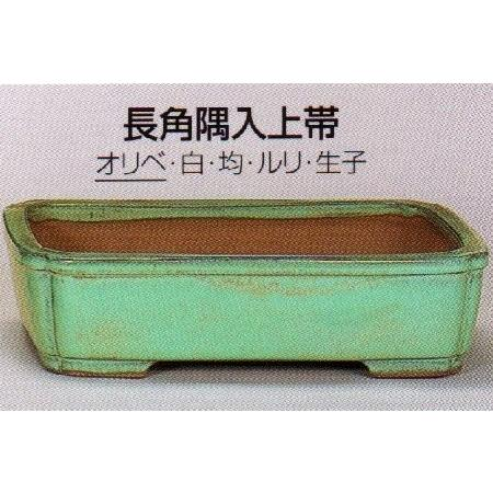 植木鉢 陶器 常滑焼 【角山】長角隅入上帯盆栽鉢(18号_オリベ)