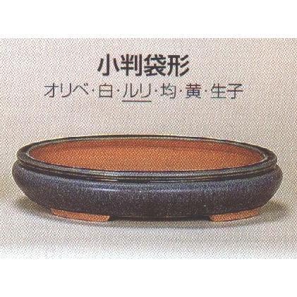 植木鉢 植木鉢 植木鉢 陶器 常滑焼 盆栽鉢・【燿山】小判袋形(11号_ルリ) bc9