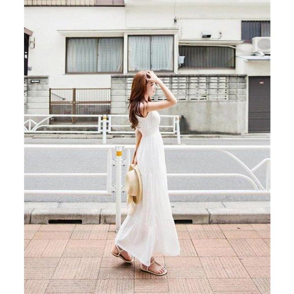 白ワンピース ワンピース レディース ロング リゾートワンピース リゾートマキシワンピース リゾート マキシワンピ ビーチ 夏|uesugi-store|05