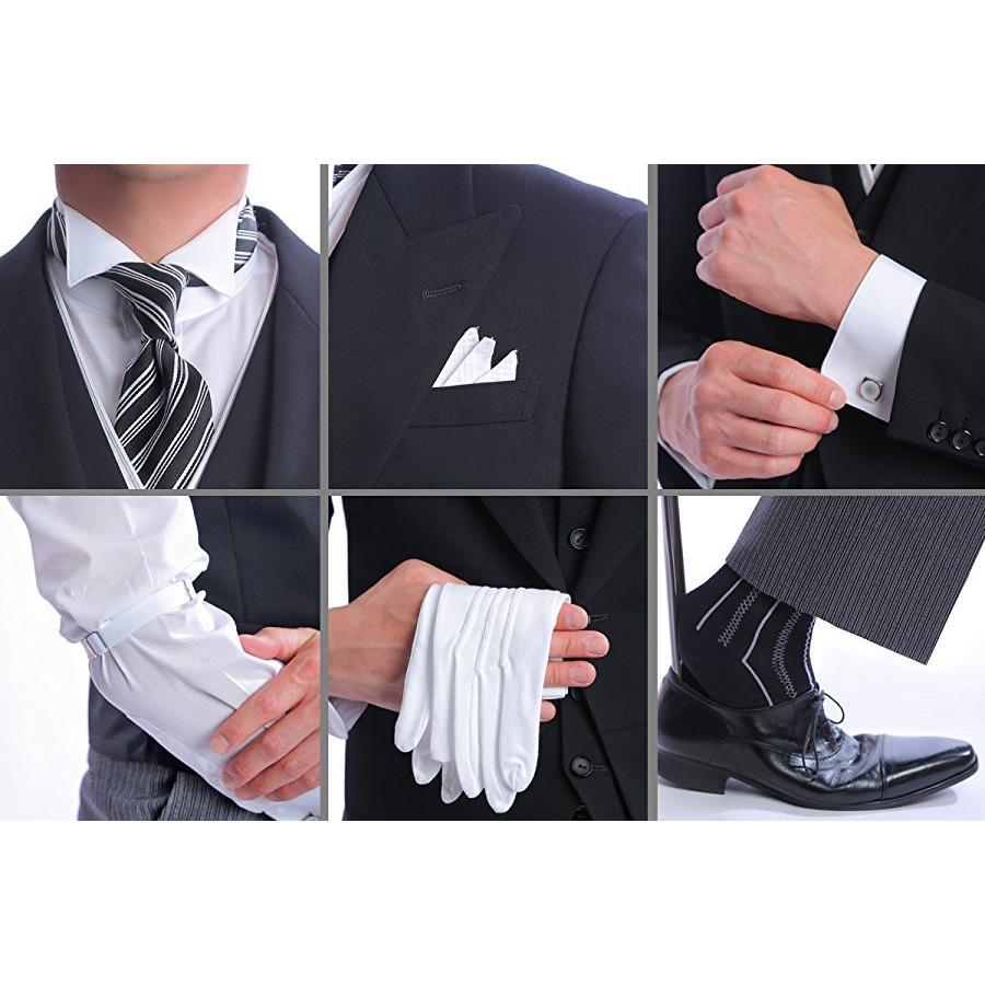 ウイングカラーシャツ+フルセット(ネクタイ+カフスボタン+アームバンド+手袋+靴下+3ピークチーフ) 結婚式 父親モーニング 叙勲 式典 結婚式 ueyama 07