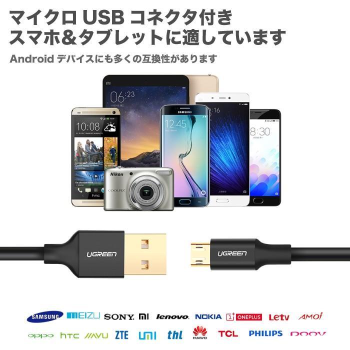 【レビューで2本目をもらおう】どっち向きも挿せる スマホ充電ケーブル マイクロUSBケーブル 表裏 両面 リバーシブル MicroUSB Androidスマートフォン対応 US223|ugreen-oaplaza|07