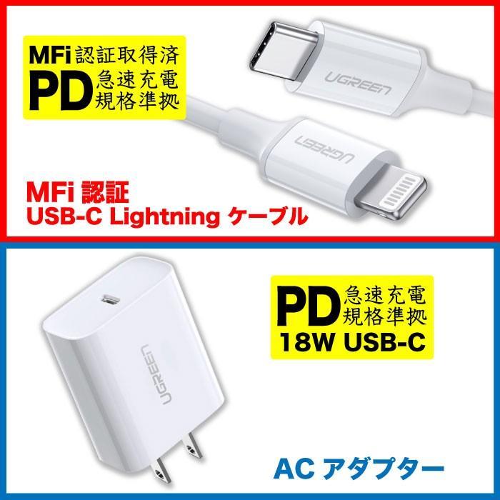PD急速充電 typeC to ライトニングケーブル MFi認証 + type C 充電器 18W ACアダプター PSE認証 セット急速充電 iPhone 10493 60449 NP ugreen-oaplaza