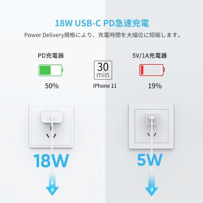 PD急速充電 typeC to ライトニングケーブル MFi認証 + type C 充電器 18W ACアダプター PSE認証 セット急速充電 iPhone 10493 60449 NP ugreen-oaplaza 12