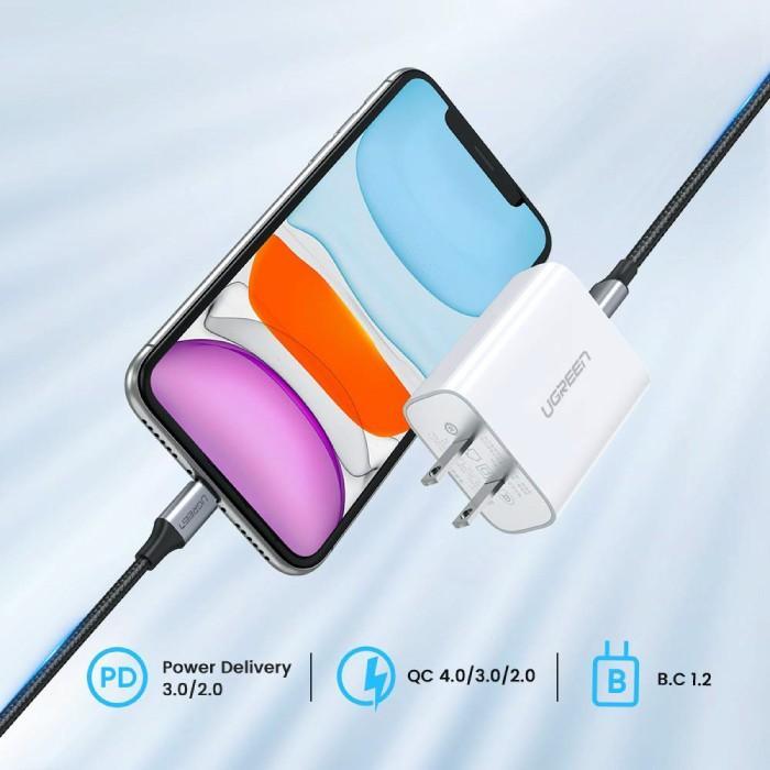PD急速充電 typeC to ライトニングケーブル MFi認証 + type C 充電器 18W ACアダプター PSE認証 セット急速充電 iPhone 10493 60449 NP ugreen-oaplaza 13