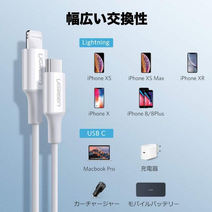 PD急速充電 typeC to ライトニングケーブル MFi認証 + type C 充電器 18W ACアダプター PSE認証 セット急速充電 iPhone 10493 60449 NP ugreen-oaplaza 05