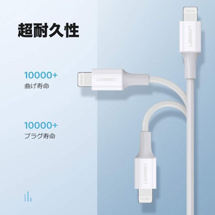 PD急速充電 typeC to ライトニングケーブル MFi認証 + type C 充電器 18W ACアダプター PSE認証 セット急速充電 iPhone 10493 60449 NP ugreen-oaplaza 06