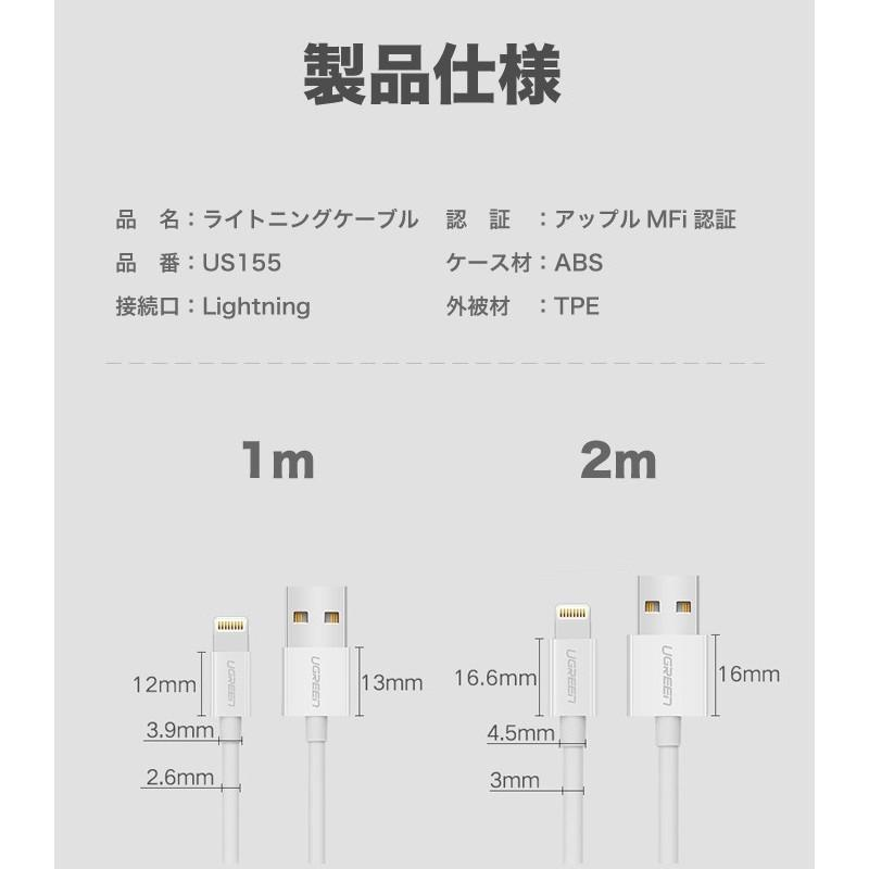 iPhone 充電ケーブル ライトニングケーブル 1m 純正チップ MFi Apple認証 Lightning 急速充電対応 データ同期 iPhoneXS XR X 8 アイフォン 充電器 US155|ugreen-oaplaza|11