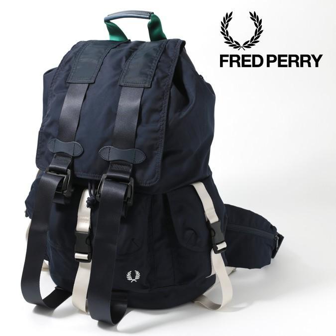 フレッドペリー 正規販売店 F赤 Perry アブストラクト バックパック ネイビー