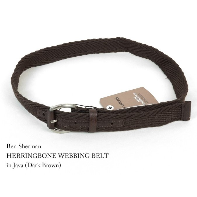 Ben Sherman Mens Herringbone Leather Belt