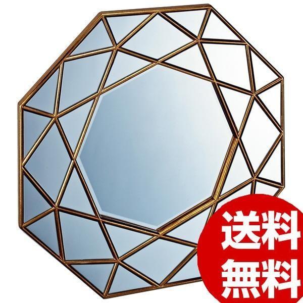 壁掛け鏡 ウォールミラー ミラー ユーパワー ダイヤモンド アート ミラー アンティークゴールド アンティークゴールド DM-25001