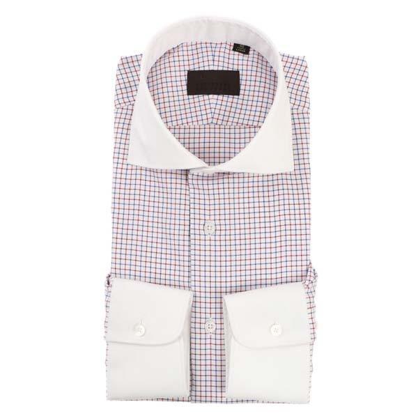 ドレスシャツ/長袖/メンズ/COOL MAX/クレリック&ホリゾンタルカラードレスシャツ チェック ホワイト×レッド×ネイビー