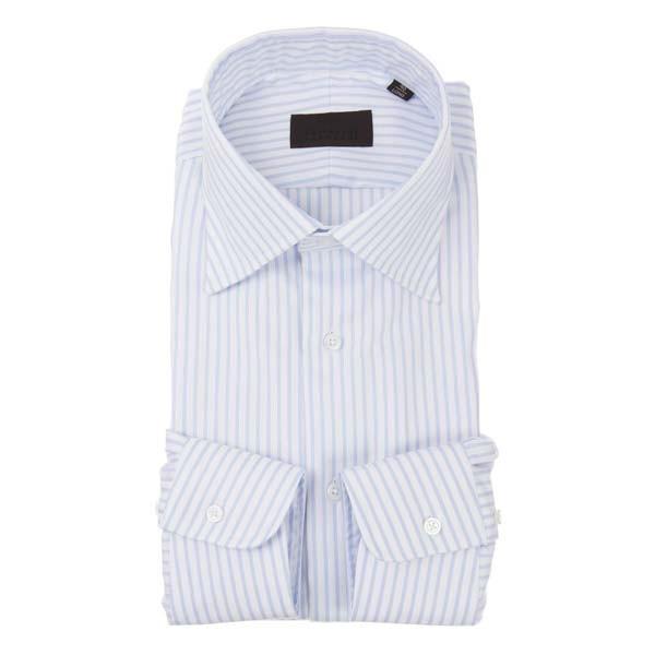ドレスシャツ/長袖/メンズ/ワイドカラードレスシャツ ストライプ×織柄 ホワイト×サックスブルー