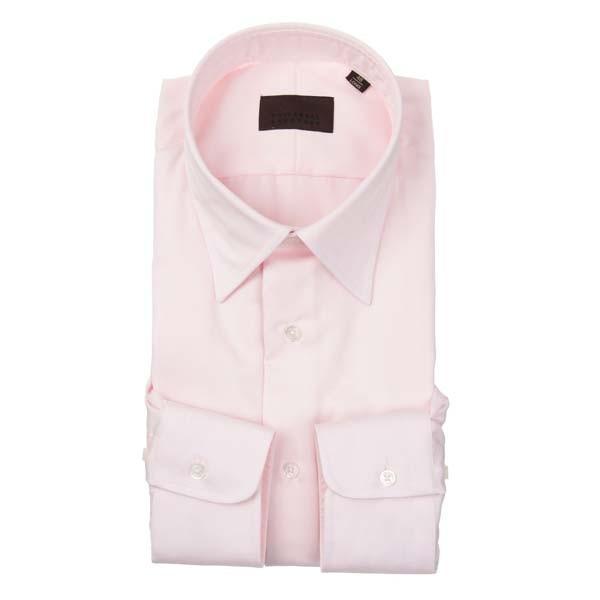 ドレスシャツ/長袖/メンズ/レギュラーカラードレスシャツ ヘリンボーン ピンク