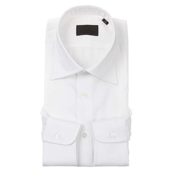 ドレスシャツ/長袖/メンズ/ワイドカラードレスシャツ 織柄 ホワイト