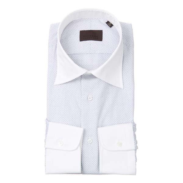 ドレスシャツ/長袖/メンズ/クレリック&ワイドカラードレスシャツ 小紋 ホワイト×ブルー