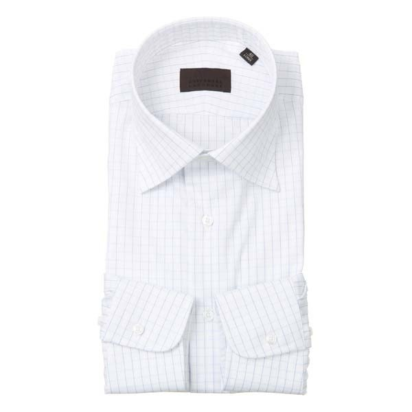 ドレスシャツ/長袖/メンズ/ワイドカラードレスシャツ グラフチェック ホワイト×サックスブルー×ネイビー