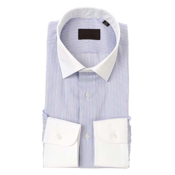ドレスシャツ/長袖/メンズ/クレリック&ワイドカラードレスシャツ ストライプ ブルー×ホワイト×ネイビー